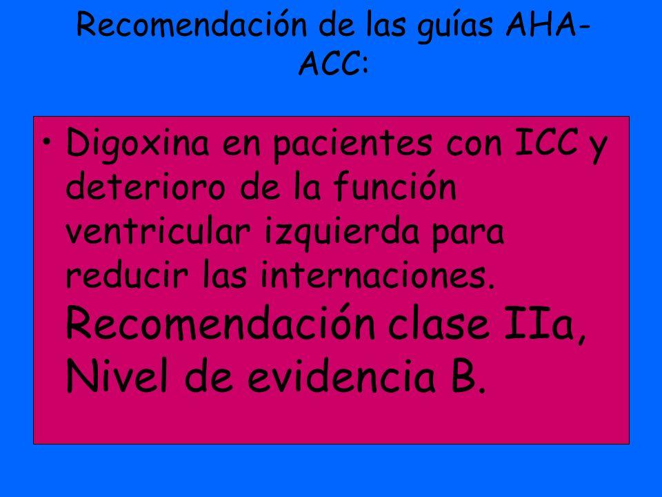 Recomendación de las guías AHA-ACC: