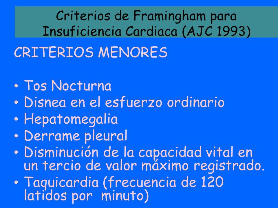Criterios de Framingham para Insuficiencia Cardiaca (AJC 1993)