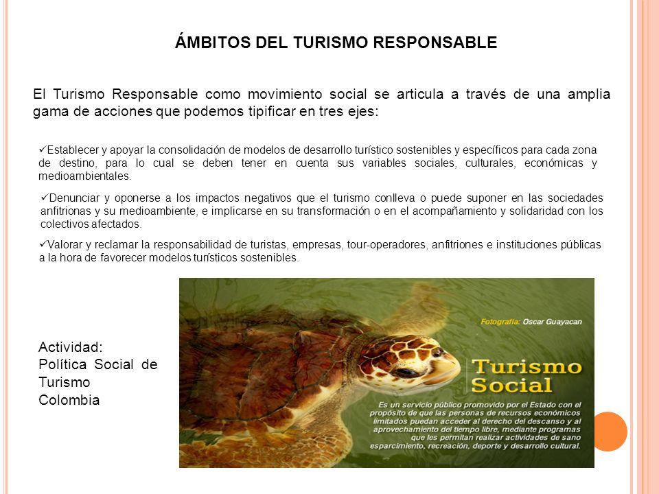 ÁMBITOS DEL TURISMO RESPONSABLE