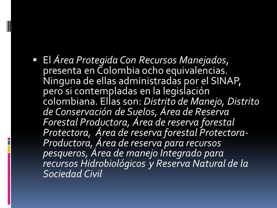 El Área Protegida Con Recursos Manejados, presenta en Colombia ocho equivalencias.
