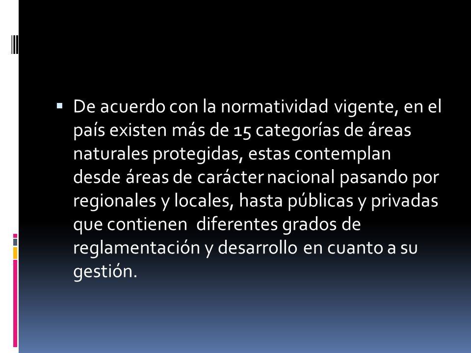 De acuerdo con la normatividad vigente, en el país existen más de 15 categorías de áreas naturales protegidas, estas contemplan desde áreas de carácter nacional pasando por regionales y locales, hasta públicas y privadas que contienen diferentes grados de reglamentación y desarrollo en cuanto a su gestión.