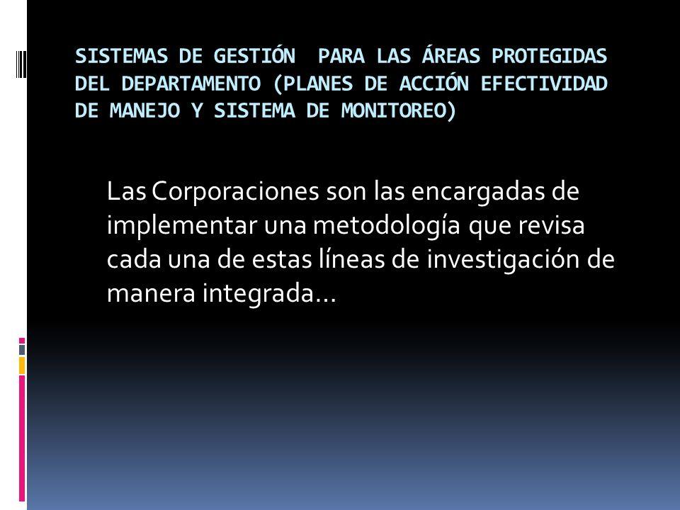 SISTEMAS DE GESTIÓN PARA LAS ÁREAS PROTEGIDAS DEL DEPARTAMENTO (PLANES DE ACCIÓN EFECTIVIDAD DE MANEJO Y SISTEMA DE MONITOREO)