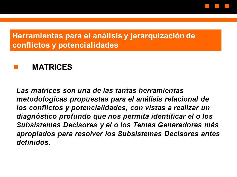 Herramientas para el análisis y jerarquización de conflictos y potencialidades