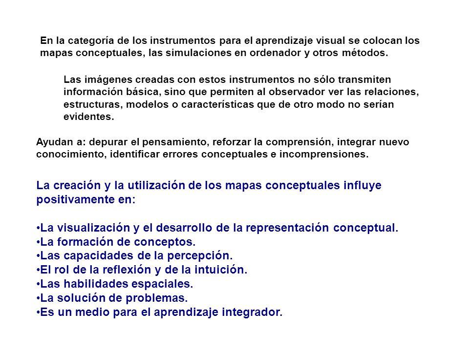 La visualización y el desarrollo de la representación conceptual.