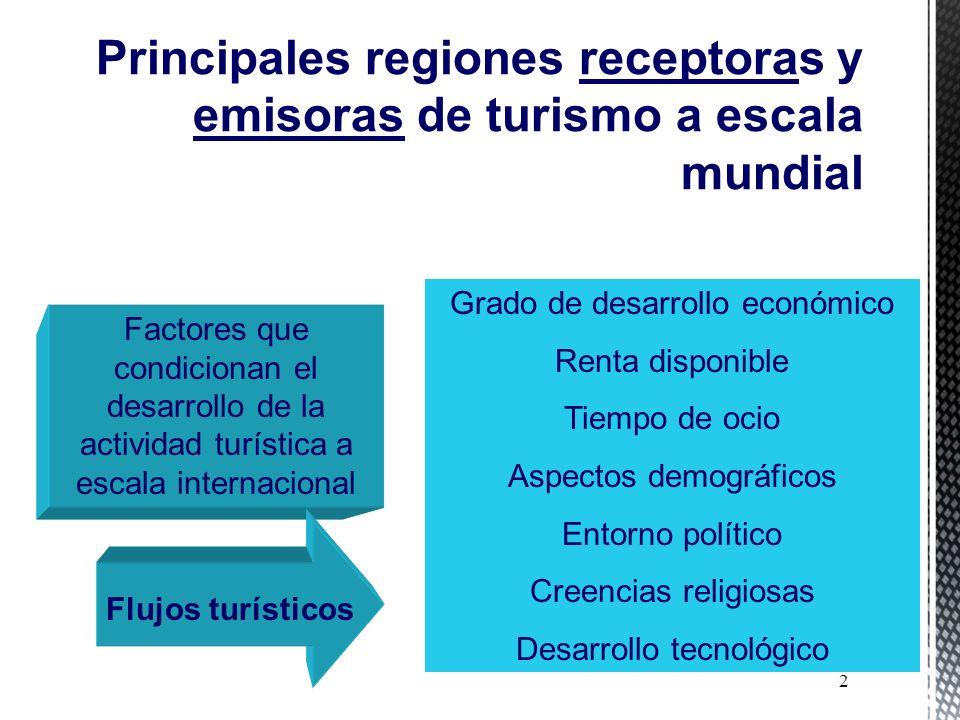 Principales regiones receptoras y emisoras de turismo a escala mundial