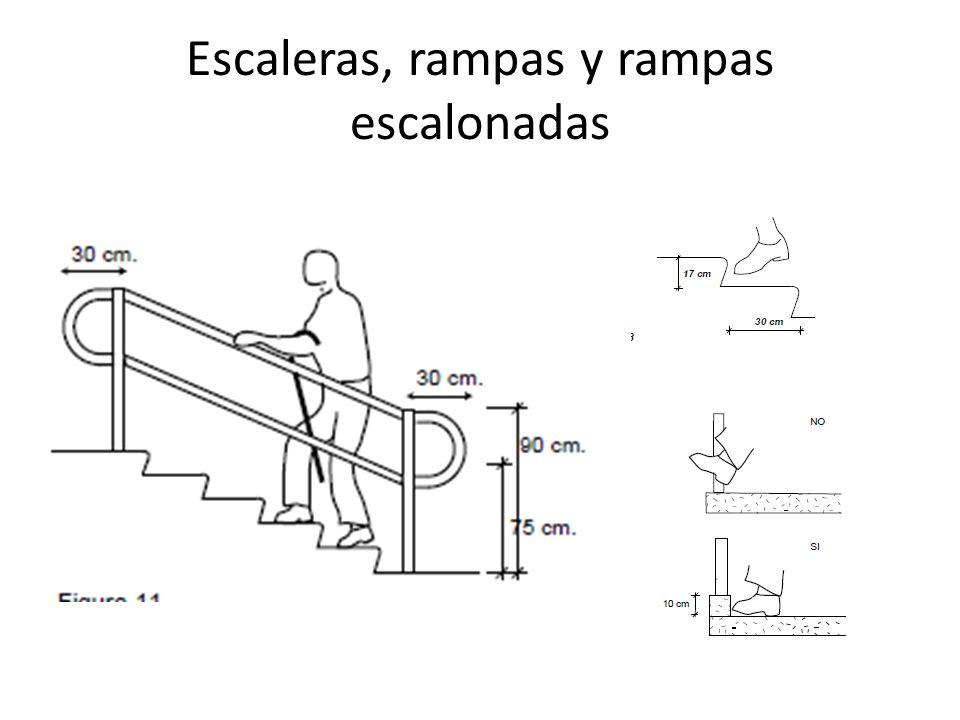 Escaleras, rampas y rampas escalonadas