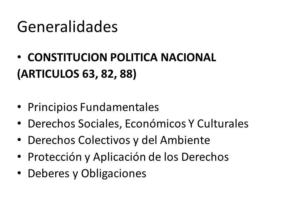 Generalidades CONSTITUCION POLITICA NACIONAL (ARTICULOS 63, 82, 88)