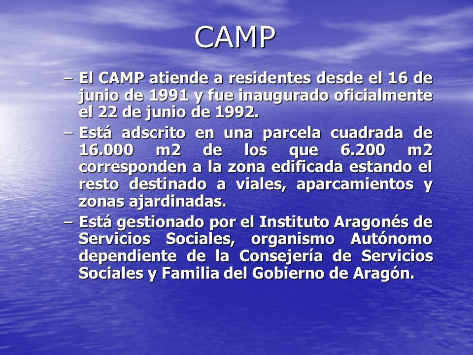 CAMP El CAMP atiende a residentes desde el 16 de junio de 1991 y fue inaugurado oficialmente el 22 de junio de 1992.