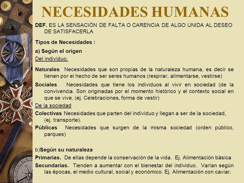 NECESIDADES HUMANASDEF. ES LA SENSACIÓN DE FALTA O CARENCIA DE ALGO UNIDA AL DESEO DE SATISFACERLA.