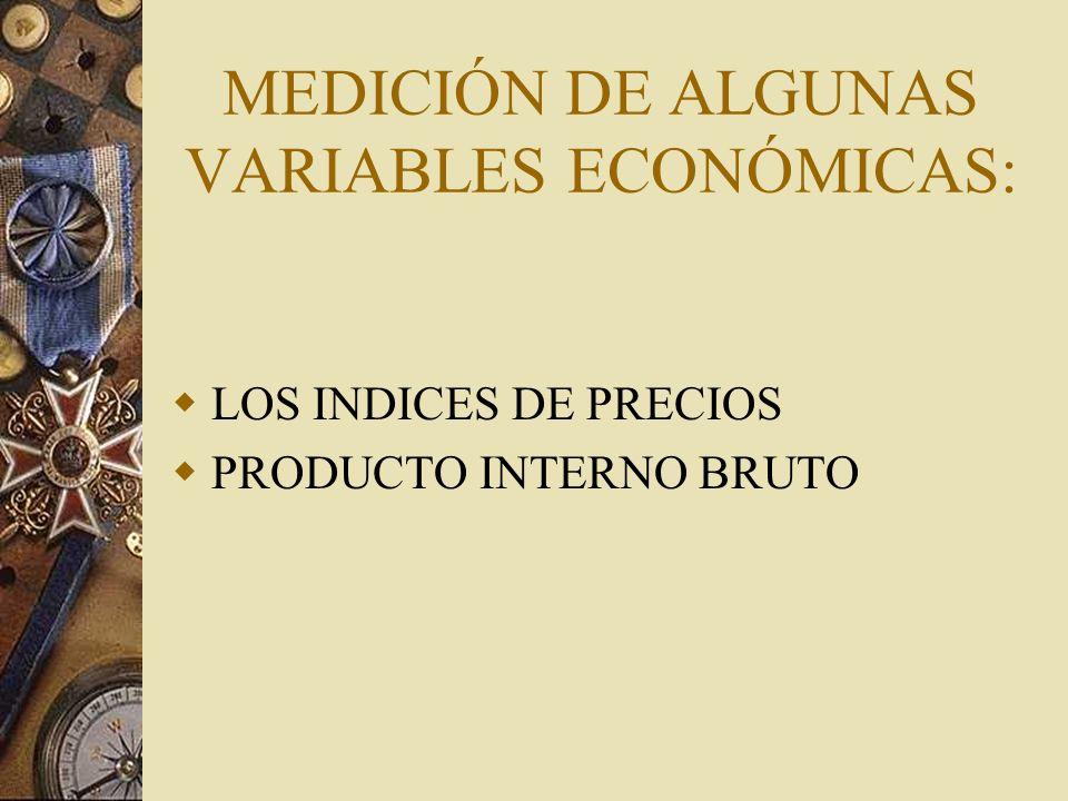 MEDICIÓN DE ALGUNAS VARIABLES ECONÓMICAS: