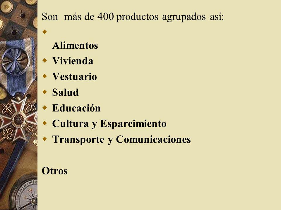 Son más de 400 productos agrupados así: