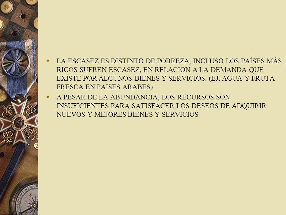 LA ESCASEZ ES DISTINTO DE POBREZA, INCLUSO LOS PAÍSES MÁS RICOS SUFREN ESCASEZ, EN RELACIÓN A LA DEMANDA QUE EXISTE POR ALGUNOS BIENES Y SERVICIOS. (EJ. AGUA Y FRUTA FRESCA EN PAÍSES ARABES).