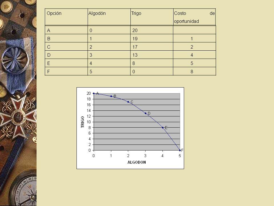 Opción Algodón Trigo Costo de oportunidad A 20 B 1 19 C 2 17 D 3 13 4 E 8 5 F