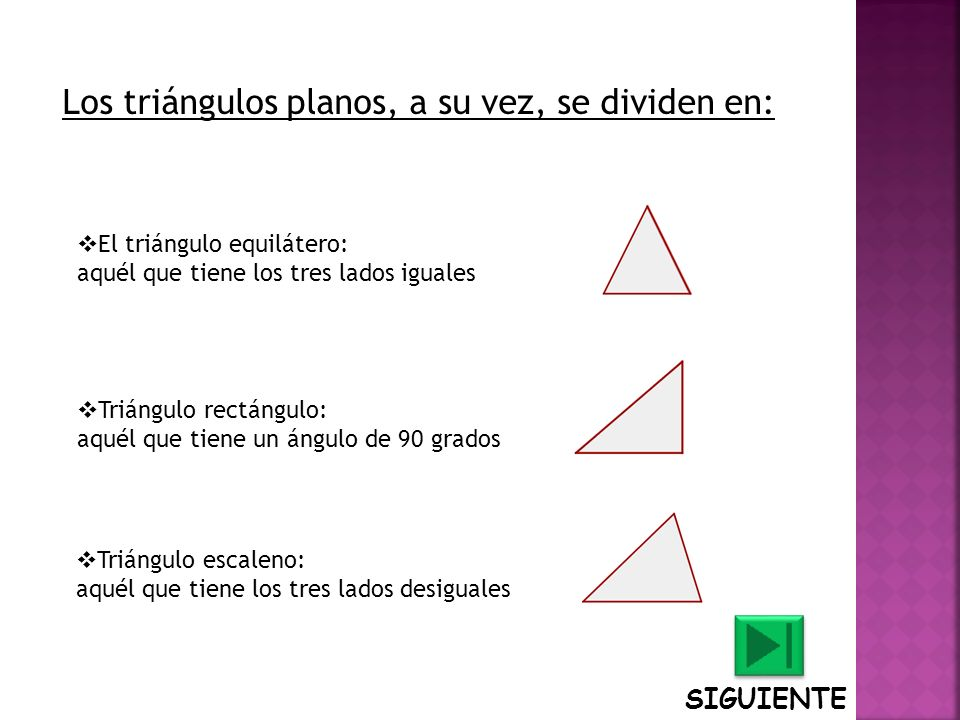Los triángulos planos, a su vez, se dividen en: