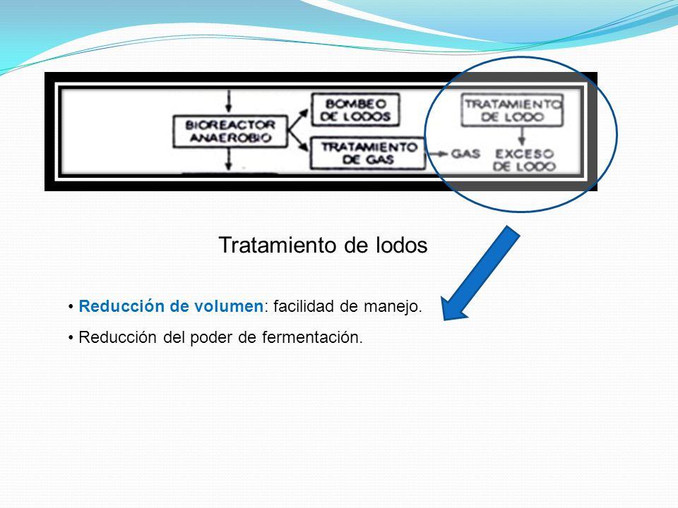 Tratamiento de lodos Reducción de volumen: facilidad de manejo.