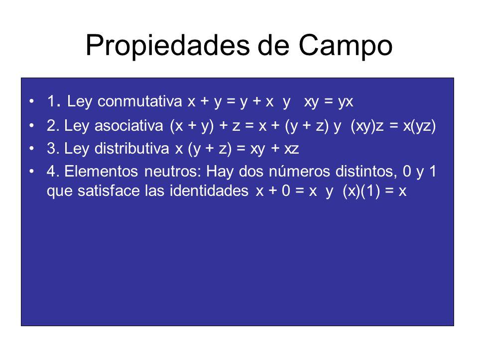 Propiedades de Campo 1. Ley conmutativa x + y = y + x y xy = yx