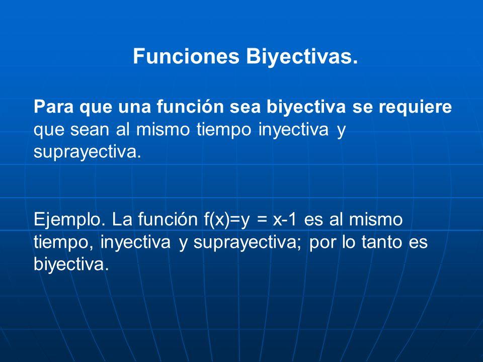Funciones Biyectivas. Para que una función sea biyectiva se requiere