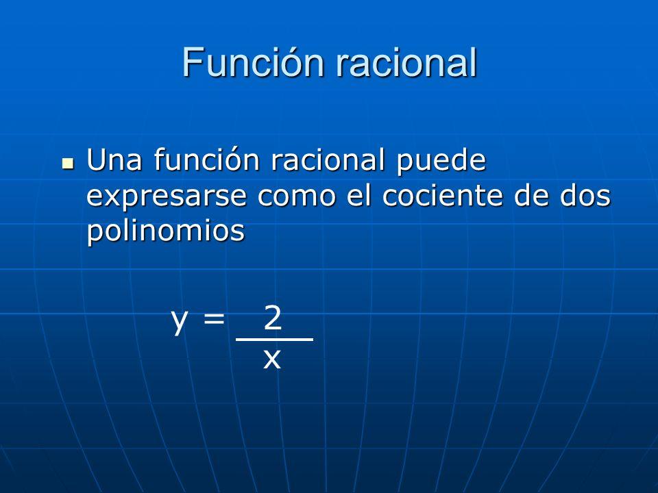 Función racional Una función racional puede expresarse como el cociente de dos polinomios y = 2 x