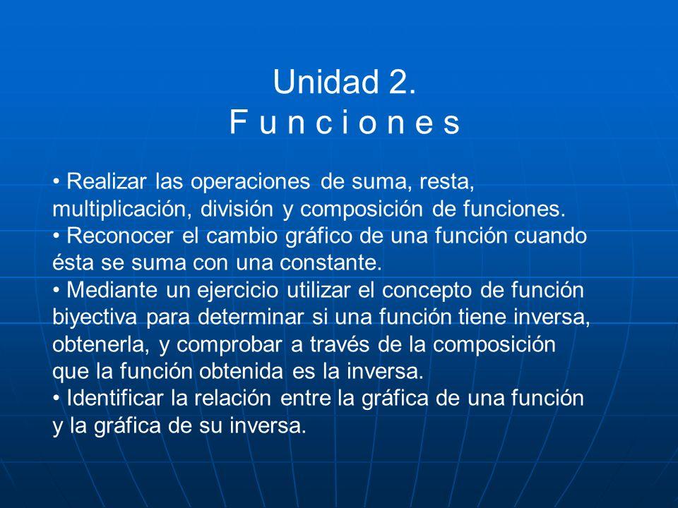 Unidad 2. F u n c i o n e s. • Realizar las operaciones de suma, resta, multiplicación, división y composición de funciones.