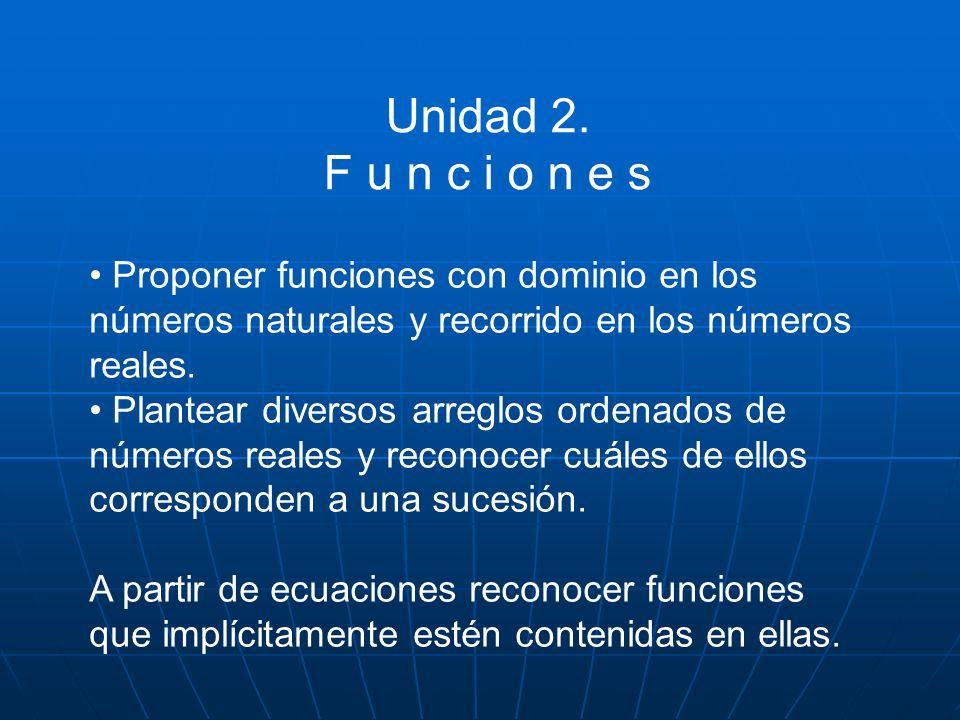 Unidad 2. F u n c i o n e s • Proponer funciones con dominio en los
