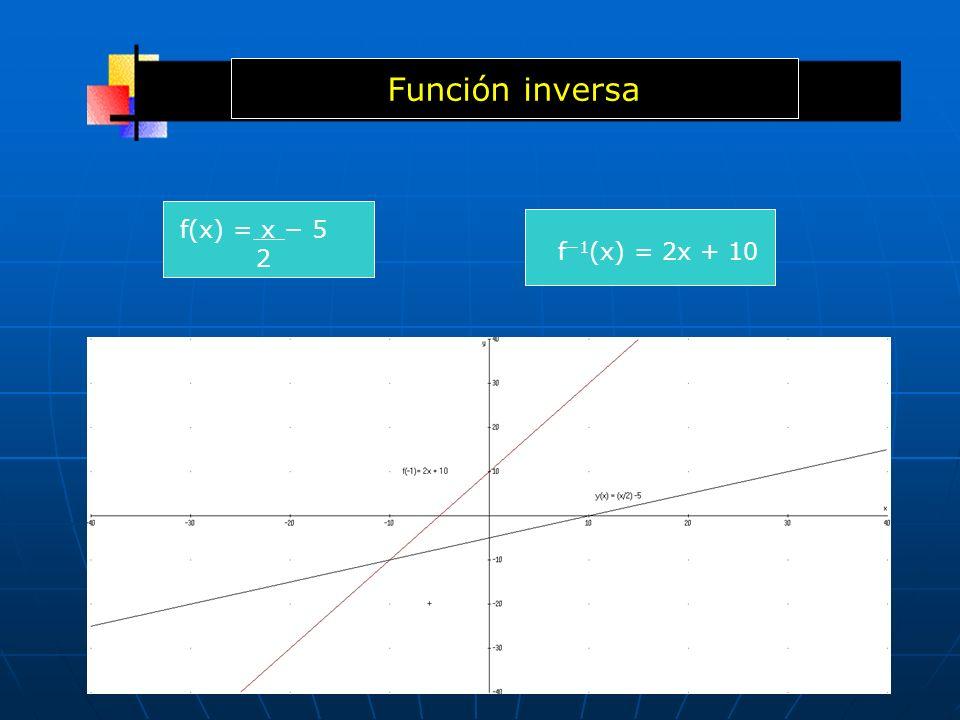 Función inversa f(x) = x − 5 2 f−1(x) = 2x + 10