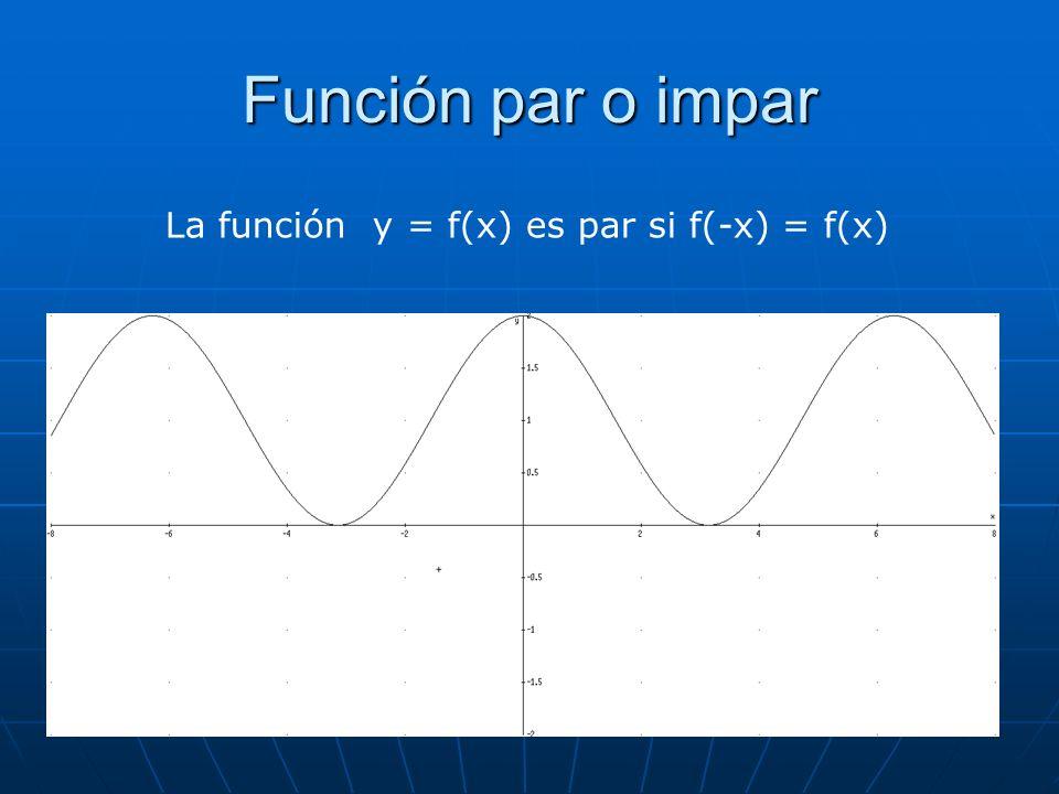 Función par o impar La función y = f(x) es par si f(-x) = f(x)