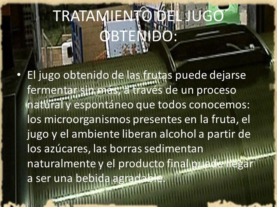 TRATAMIENTO DEL JUGO OBTENIDO: