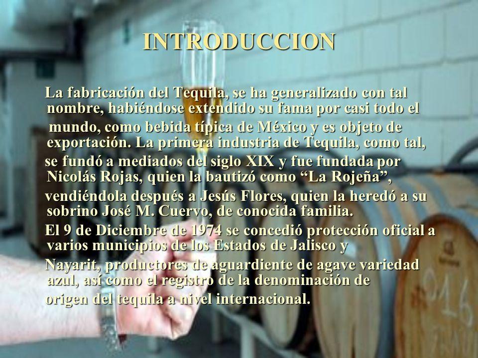 INTRODUCCION La fabricación del Tequila, se ha generalizado con tal nombre, habiéndose extendido su fama por casi todo el.