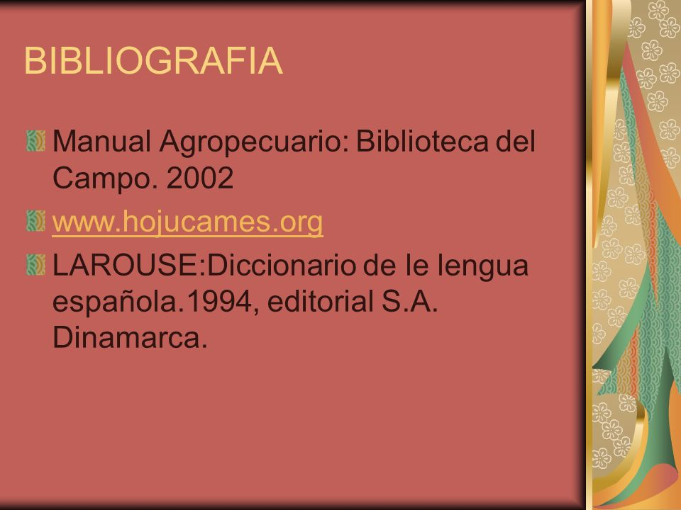 BIBLIOGRAFIA Manual Agropecuario: Biblioteca del Campo. 2002