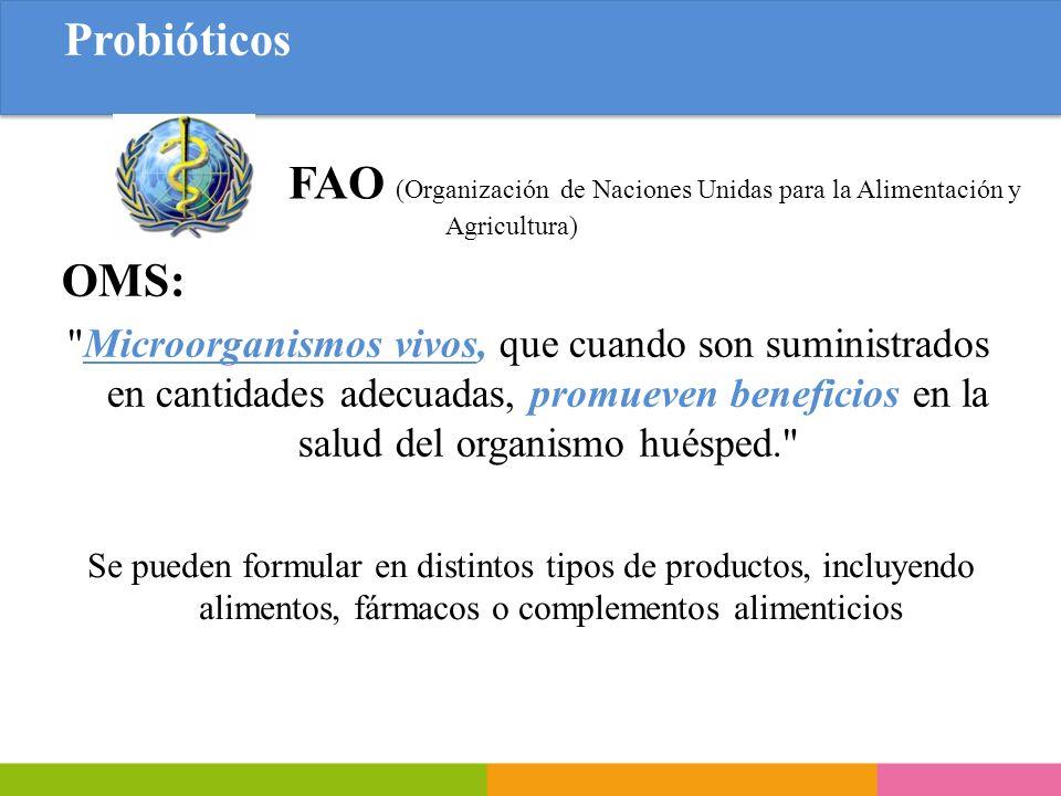 Probióticos FAO (Organización de Naciones Unidas para la Alimentación y Agricultura) OMS: