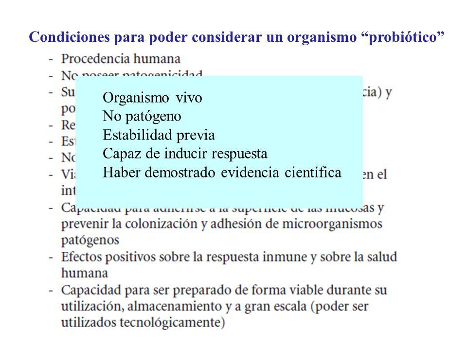 Condiciones para poder considerar un organismo probiótico