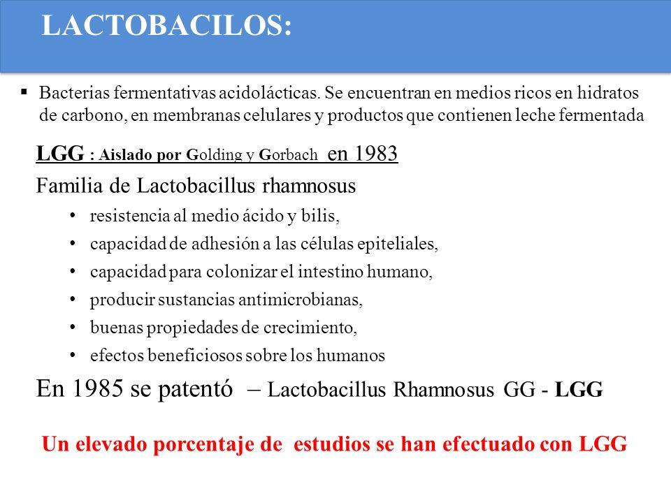 LACTOBACILOS: En 1985 se patentó – Lactobacillus Rhamnosus GG - LGG