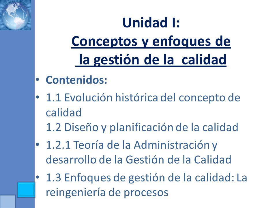 Unidad I: Conceptos y enfoques de la gestión de la calidad