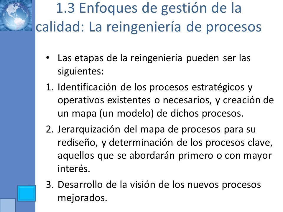 1.3 Enfoques de gestión de la calidad: La reingeniería de procesos