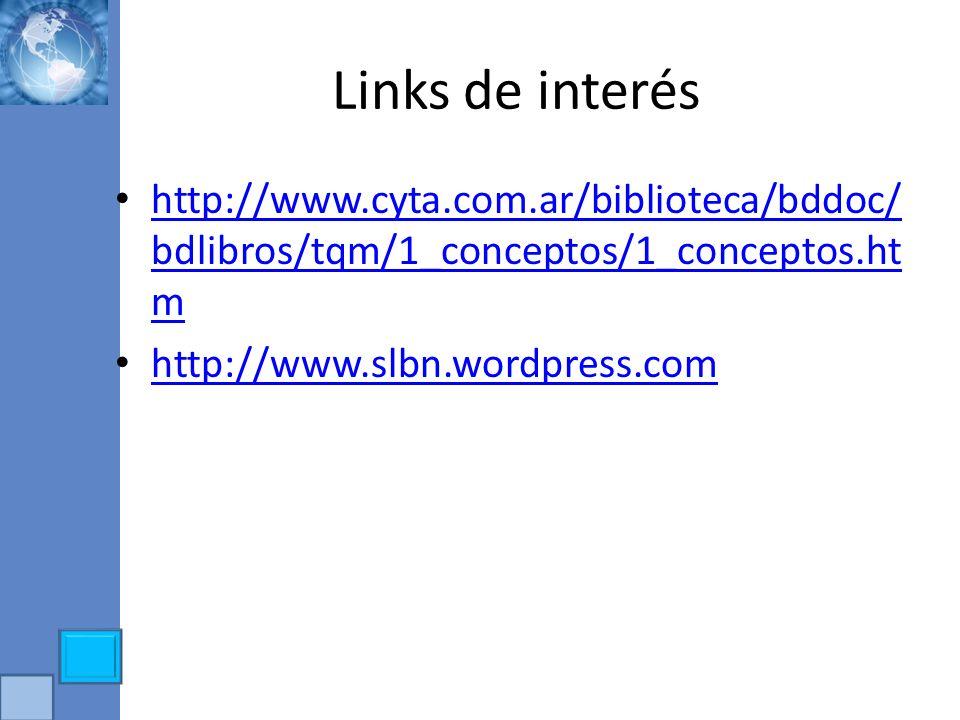 Links de interés http://www.cyta.com.ar/biblioteca/bddoc/bdlibros/tqm/1_conceptos/1_conceptos.htm.