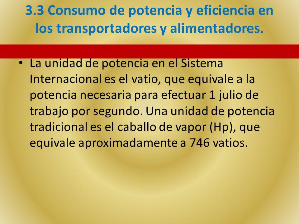 3.3 Consumo de potencia y eficiencia en los transportadores y alimentadores.