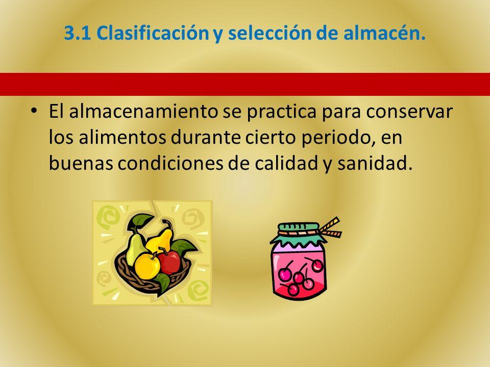 3.1 Clasificación y selección de almacén.