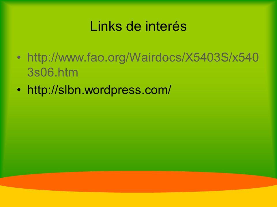 Links de interés http://www.fao.org/Wairdocs/X5403S/x5403s06.htm