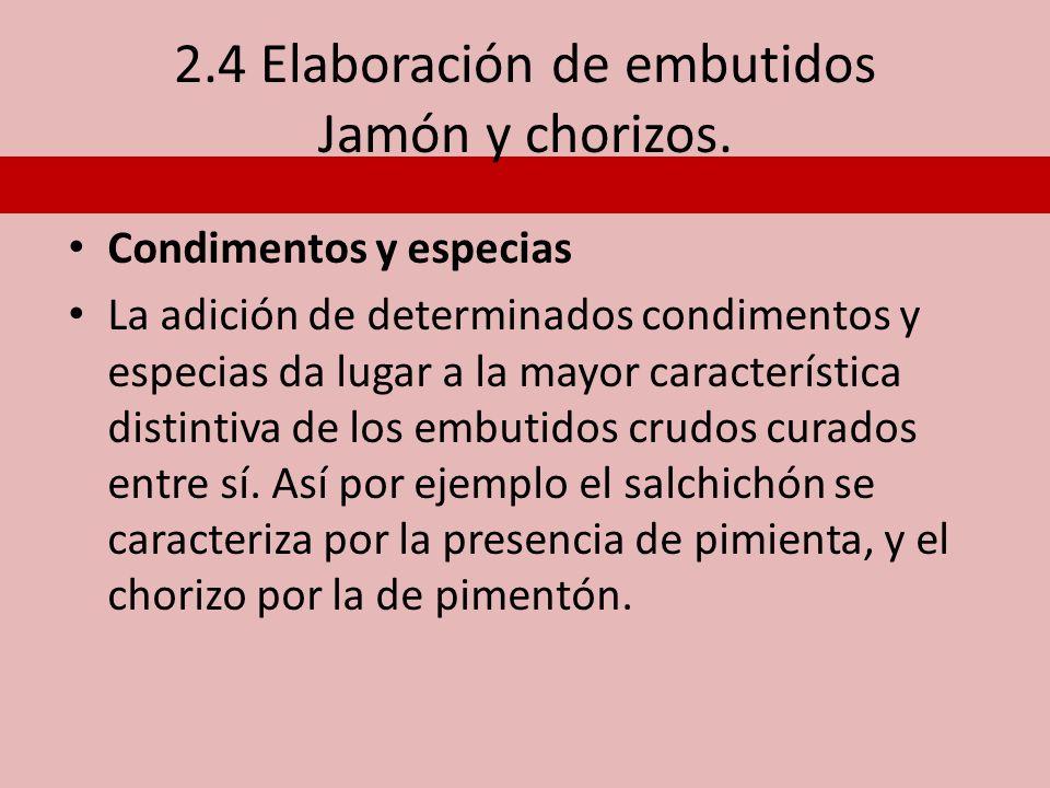 2.4 Elaboración de embutidos Jamón y chorizos.