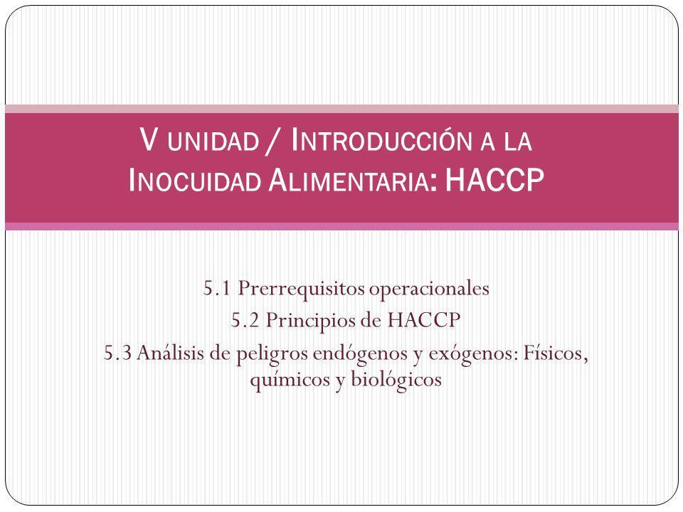 V unidad / Introducción a la Inocuidad Alimentaria: HACCP