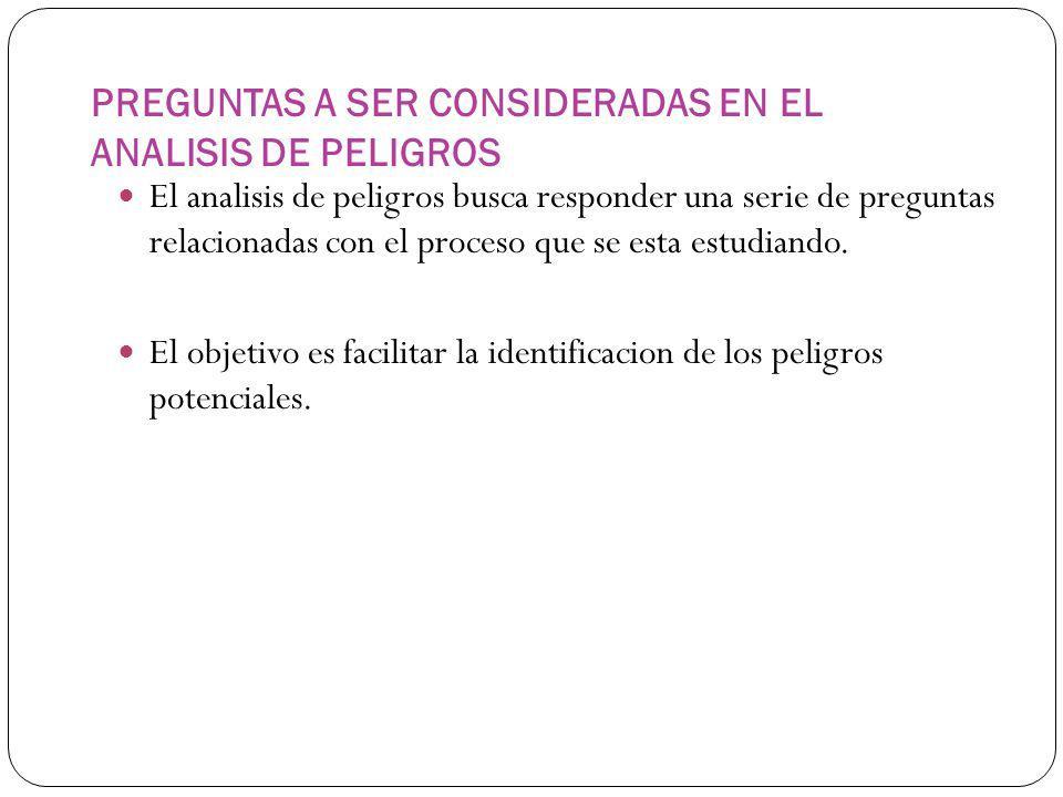 PREGUNTAS A SER CONSIDERADAS EN EL ANALISIS DE PELIGROS