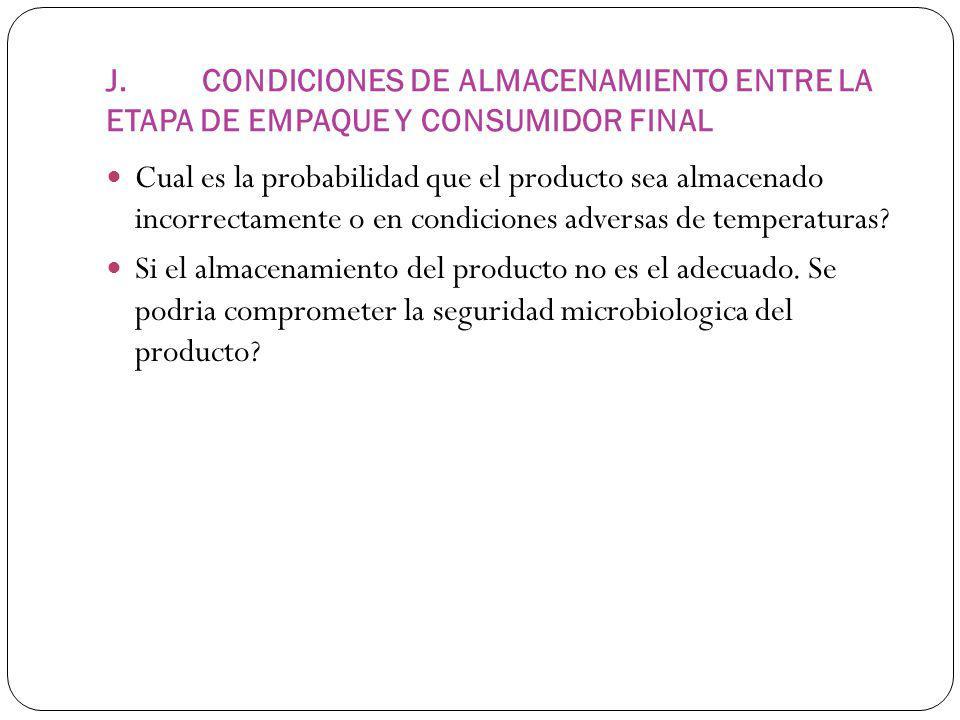 J. CONDICIONES DE ALMACENAMIENTO ENTRE LA ETAPA DE EMPAQUE Y CONSUMIDOR FINAL