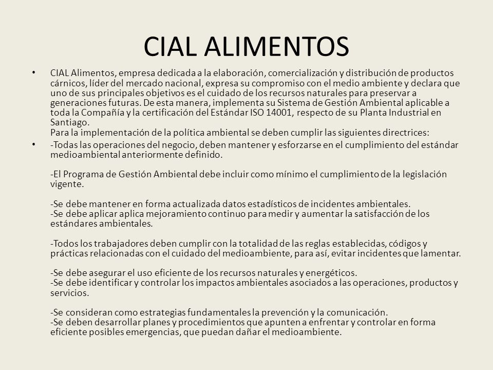 CIAL ALIMENTOS