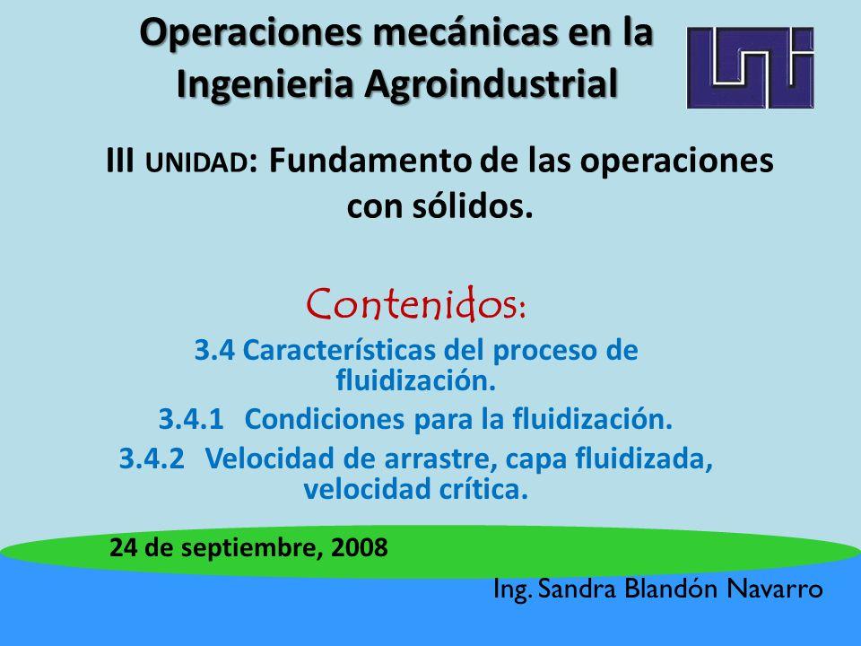 III unidad: Fundamento de las operaciones con sólidos.