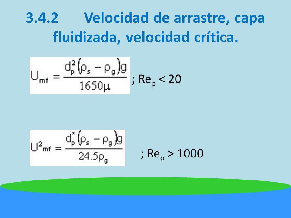 3.4.2 Velocidad de arrastre, capa fluidizada, velocidad crítica.