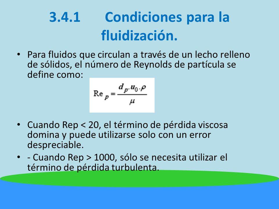 3.4.1 Condiciones para la fluidización.