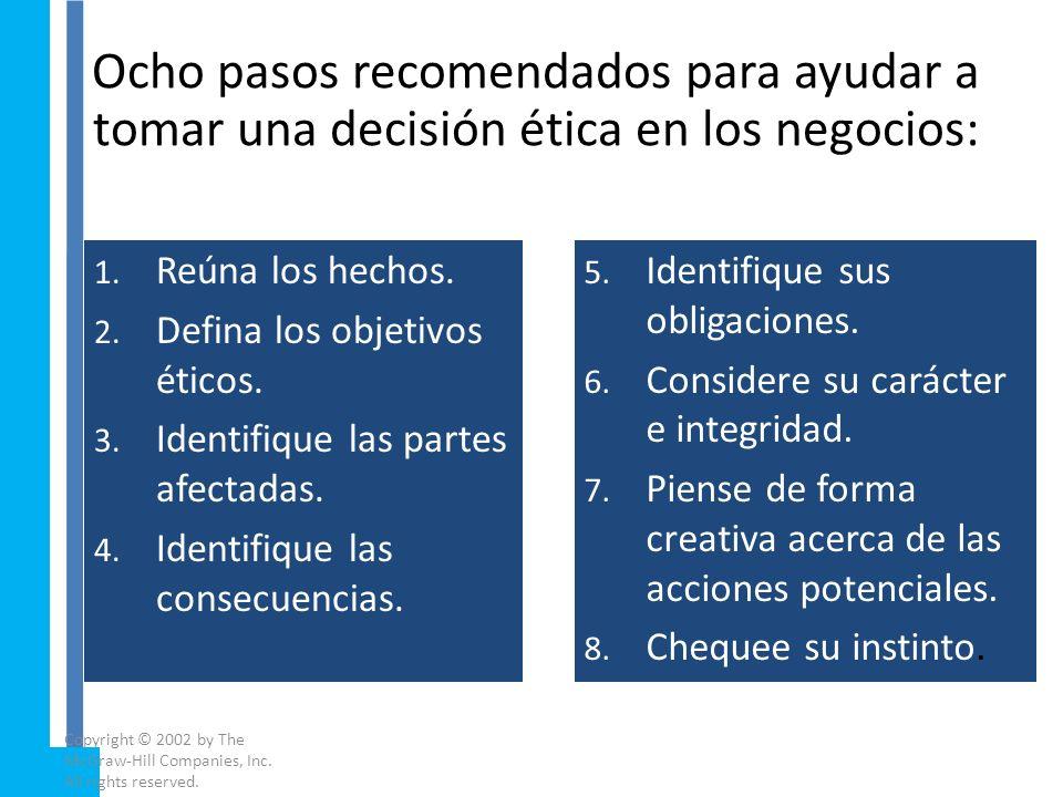 Ocho pasos recomendados para ayudar a tomar una decisión ética en los negocios: