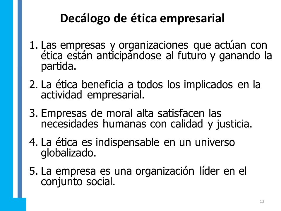 Decálogo de ética empresarial