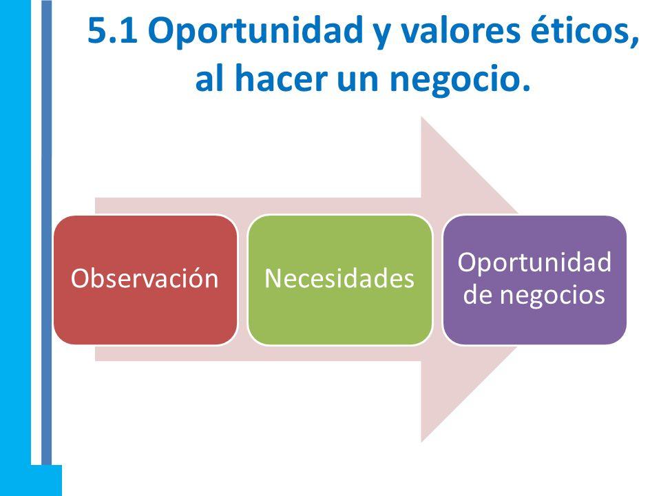 5.1 Oportunidad y valores éticos, al hacer un negocio.