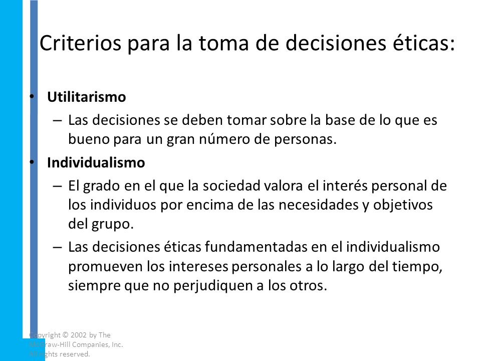 Criterios para la toma de decisiones éticas: